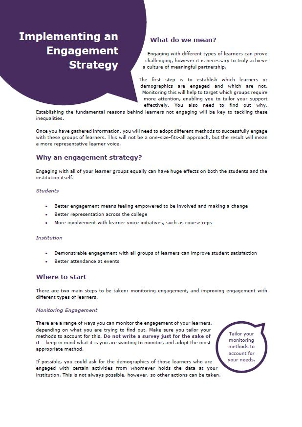 Implementing an engagement strategy