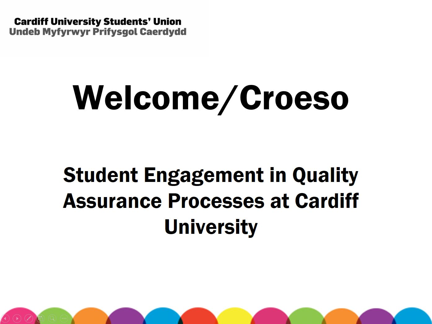 Student Engagement in Quality Assurance Processes at Cardiff University