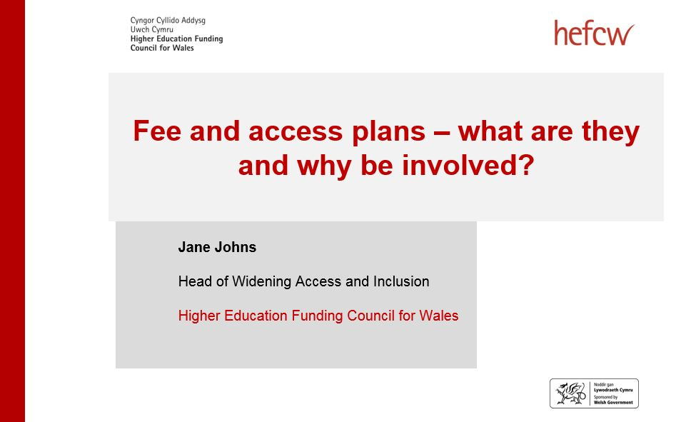 HEFCW: Fee and access plans