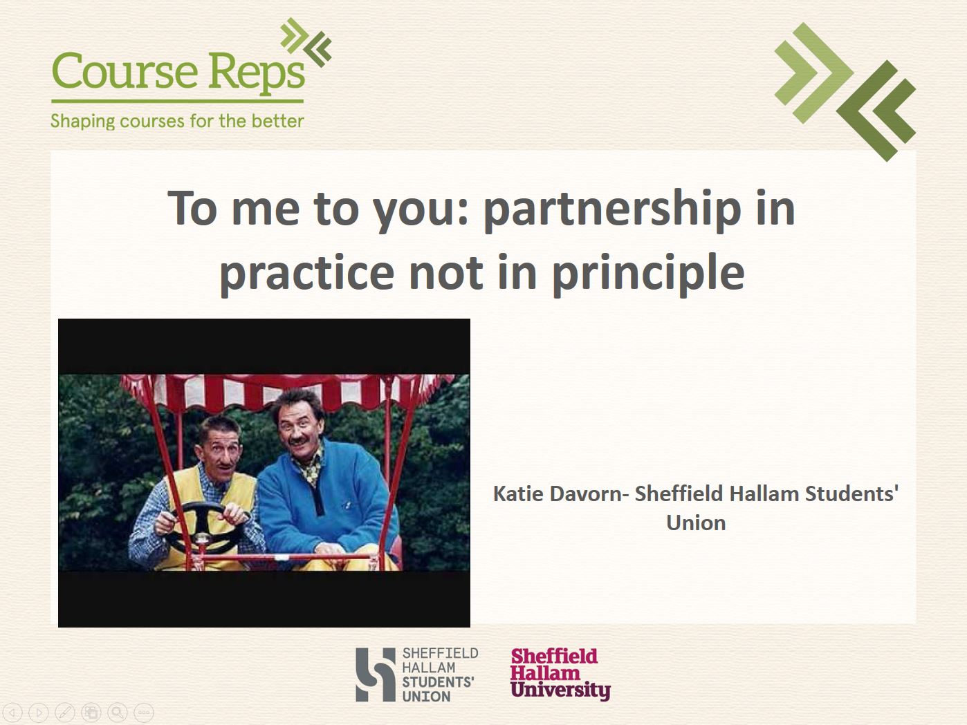 To me to you: partnership in practice not in principle